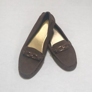 Brown Suede Fortunata Coach Loafers 👞